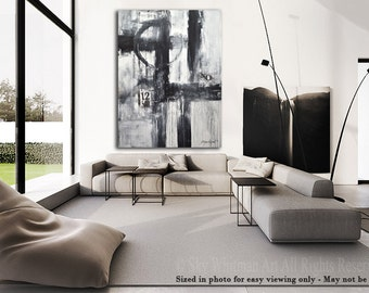 Black and White Contemporary Art Original Painting Large Modern Art Gray Abstract Painting Oil Painting Urban Loft Ready To Hang Sky Whitman