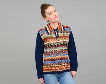 COLLEGEMAN Vintage 70s Sweater, 70s Jumper, Striped Sweater, Geometric Sweater, 70s Top, Collared Sweater, Hippie Sweater, 1970s Shirt XS S