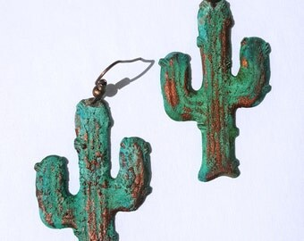 Green Patina Cactus Earrings