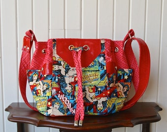 Dahlia Drawstring Bucket Bag in Wonder Woman with Red Sparkle Vinyl