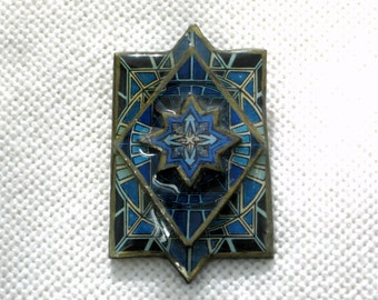Blue Black Brooch Paper Papier Mache Pin Vintage 80s Handmade Costume Jewelry