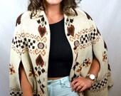 Vintage 70s Hippie Ethnic Poncho Sweater - 1970s Sturbridge Geometric Cape