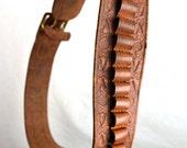 Vintage Tooled Leather Military Ammo Belt