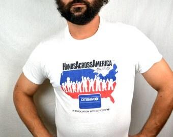Vintage 1980s Hands Across America Tee 80s Boho Tshirt