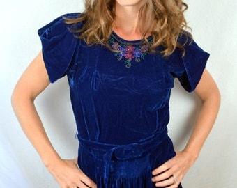 Vintage 1930s 1940s Blue Beaded Velvet Dress