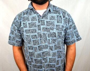 Vintage Permit 1980s Button Up Surfer Geometric Shirt