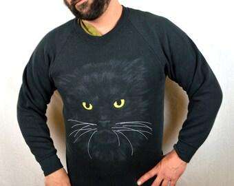 RARE Vintage 80s Black Kitty Cat Sweatshirt