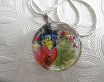 Yellow Purple Pansy,Frosted Ferns,Ombre Boronia,Lobelia Jeweler's Faceted Edged Crystal Pressed Flower Pendant-Symbolizes Loyalty,Admiration