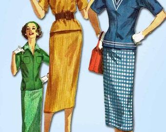 1950s Vintage Simplicity Sewing Pattern 2180 Uncut Misses 2 PC Dress Sz 12 32B