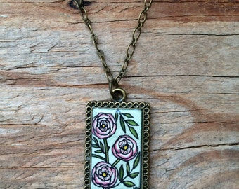 Pink Roses Hand Painted Necklace - Wearable Art Jewelry, Watercolor