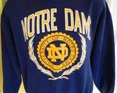 1980s vintage Notre Dame sweatshirt - Irish blue size large