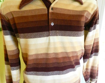 1970s velour vintage knit brown striped collared shirt size large