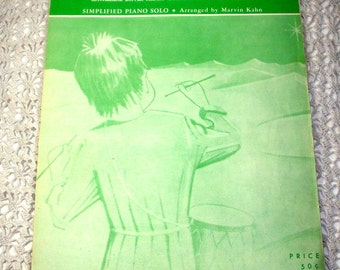 The Little Drummer Boy, Mid Century Christmas Sheet Music, Vintage Holiday Song, Simplified Piano Solo, 1960, Green Graphics   (945-15)