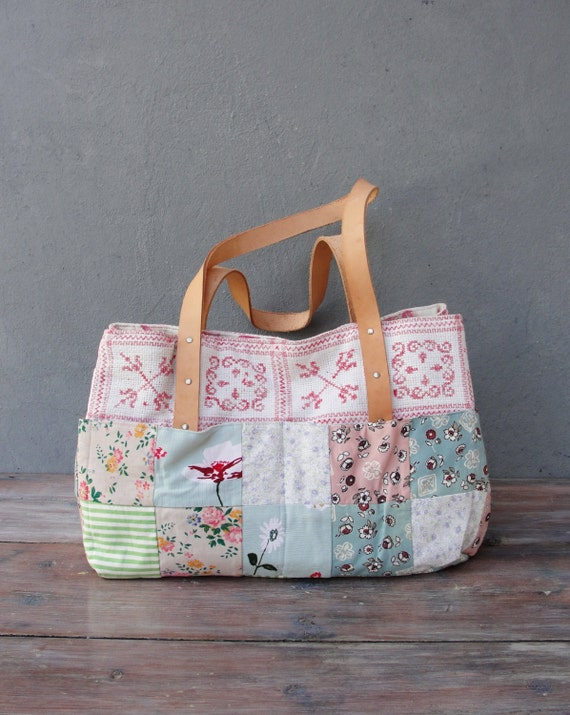 Romantic Overnight Bag, Weekender, Carry-all, Vintage Embroidery, Patchwork and Leather