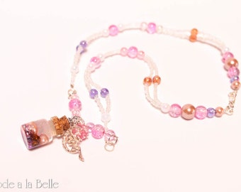 Floating Treasure in a bottle - pendant necklace - iridescent beads