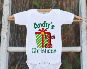 Baby's First Christmas Outfit - 1st Christmas Onepiece - Baby's First Holiday Christmas Present Outfit - Newborn Infant Christmas Onepiece