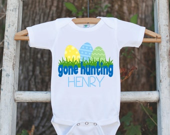 Easter Outfit for Baby Boys - Personalized Easter Onepiece - Easter Egg Hung Shirt - Custom Easter Bodysuit for Baby Boys - Gone Hunting