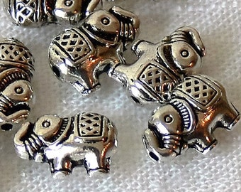 Elephant Antiqued Silver Metal Beads 12mm 10 Pcs