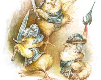 Chicks in Armor (print) chicken knights