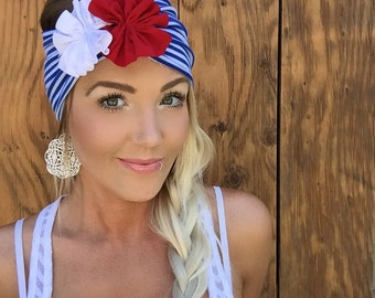 Patriotic Blue White Stripe Red Flowers Jersey Knit Headband July 4th Fourth Turband Hair Head Band Accessories Patriots Boho 4th Accessory