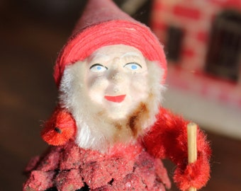 Pinecone Elf Santa West Germany Composition face Clay Christmas VINTAGE by Plantdreaming