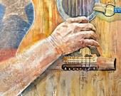 Willie Nelson's Trigger, Willie Nelson's guitar, custom painting, watercolor painting, guitar, Trigger