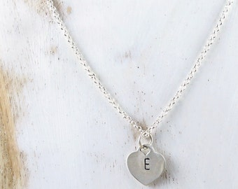 heart personalized jewelry, silver heart pendant, initial necklace, custom stamped necklace, new mom gift