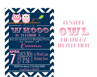 Owl Birthday Invitation, Custom  Navy and Pink Party, 5x7 Invitation for girl party, Woodland