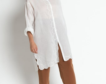 Vintage 90s White Sheer Cotton Embroidered Tunic Top   L
