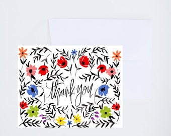 Thanks A Bunch - Florals in Vase - Painted Greeting Cards - A-2