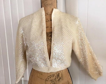 Vintage Cream Sequin Knit Cardigan -- Retro -- Rockabilly -- Pinup Size S-M