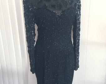 Vintage Vampy Beaded Black Dress -- Size S-M