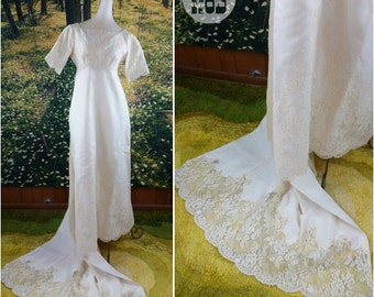 Vintage Traditional White 60s Wedding Gown with Scalloped Lace Tail - GORGEOUS!