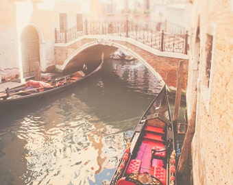 Gondola Photograph, Travel Photography, Italy Landscape Wall Art - Canals of Venice print, red, golden, beige, pop of color, romantic decor