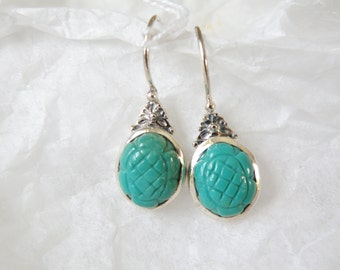 Sterling Silver 925 Carved Turquoise Green Blue Drop Dangle Artisan Earrings New Old Stock India