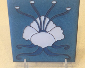 Van Briggle Art Nouveau Tile, Blue-White - Excellent Condition / NEW - Unused