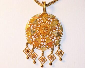 Vintage Avon Long Gold Tone Dangling Medallion Necklace (N-1-4)