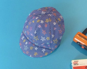 Toddler/Kid Cycling Cap- Blue Star Fabric