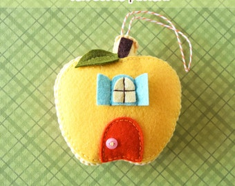 PDF patroon - Honeycrisp Cottage Ornament patroon, Apple voelde Ornament patroon, herfst vilt Softie naaien patroon