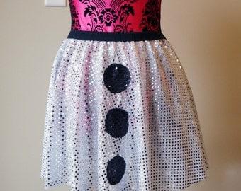 Running Skirt, Olaf Running Skirt, Snowman Skirt, White Running Skirt, Sparkle Running Skirt, 5K Skirt, Princess Skirt
