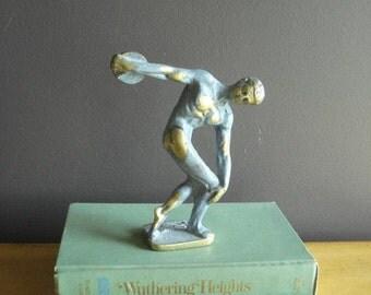 Discobolus - Vintage Brass Discus Thrower Figurine or Statue - Heavy Brass Bookend - Athletic Decor