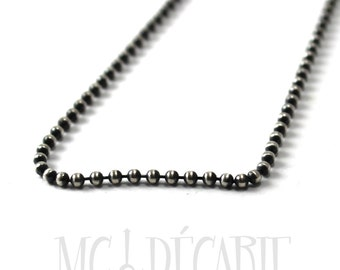 Ball chain 2mm, bead chain, High quality in solid sterling silver 925,  14 to 24 inches, white or oxidized, silver bead chain,