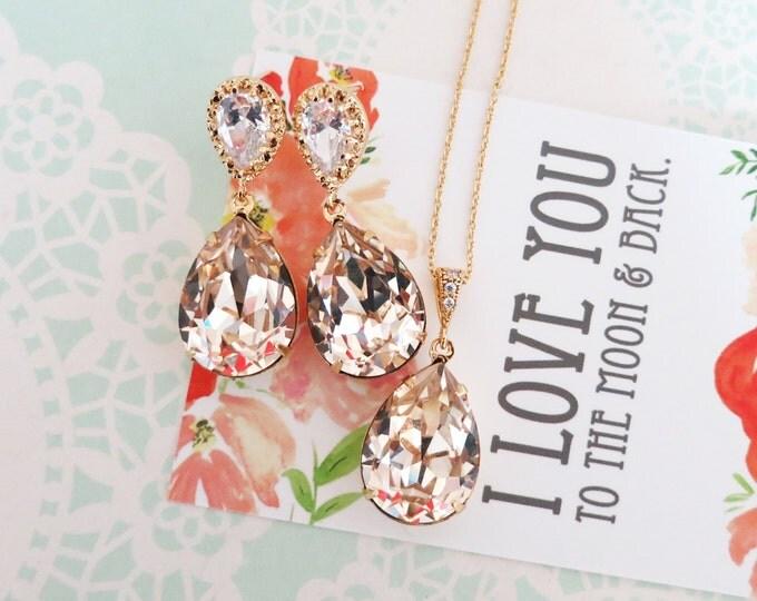 Bridesmaid Bridal Jewelry Wedding, Swarovski Crystal Teardrop Cubic Zirconia Teardrop Earrings Necklace Set, champange light silk, Sandra