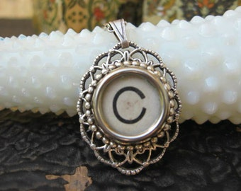 Typewriter Key Letter C - Oval Pendant with necklace