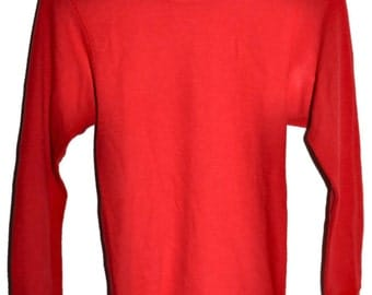 Vintage 70s HANES Red Thermal Waffle Long Sleeve T Shirt Slim Fit Small S Made in USA