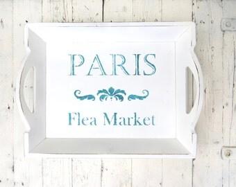 Paris Tray, French Decor Tray, Large Handled Wooden Tray, Shabby Painted Tray, Old White Tray, Cottage Chic Decor, Paris Flea Market Tray