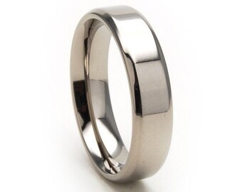 New 5mm Comfort Fit Ring, Custom Titanium Jewelry: 5BN-P
