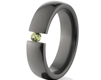 Uniquely You- Black Zirconium-Tension Set- Peridot-  BZ-6HR-P-Tension