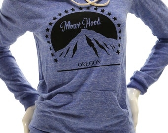 Mt. Hood Oregon| Lightweight pullover hoodie| soft organic cotton blend| classic style| Art by MATLEY| Travel tees| Hometown| Ski| Vacation.