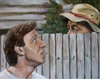 Home Improvement - Tim the Tool Man Taylor - Tim and Wilson - Tim Allen Painting - 1990s Throwback Print - Pop-Culture - 5x7 8x10 11x14
